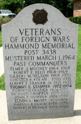 VFW Post 3438 Past Commanders Marker (Front) image. Click for full size.