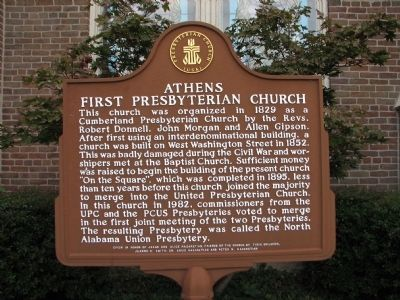 Athens First Presbyterian Church Marker image. Click for full size.