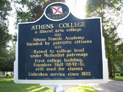 Athens College Marker image. Click for full size.