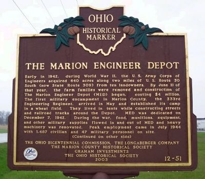 The Marion Engineer Depot Marker (Side A) image. Click for full size.