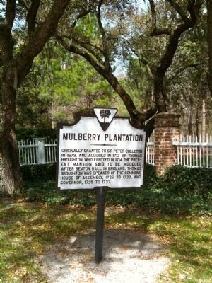 Mulberry Plantation Marker Under Oaks image. Click for full size.