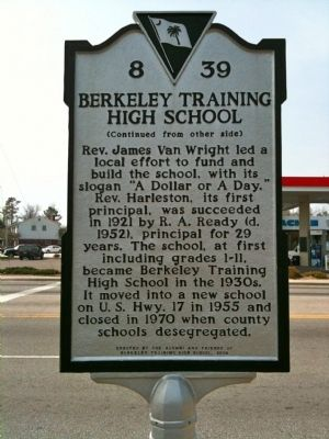 Dixie Training School / Berkeley Training High School Marker (reverse) image. Click for full size.