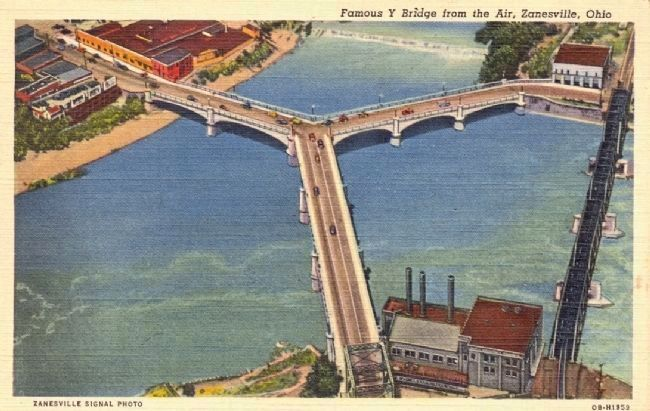 Famous Y Bridge from the Air, Zanesville, Ohio image. Click for full size.