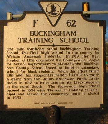 Buckingham Training School Marker image. Click for full size.