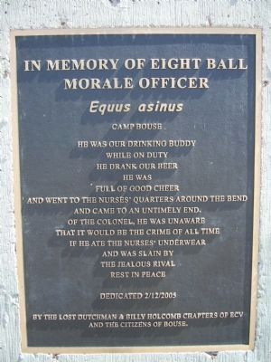 In Memory of Eight Ball - Morale Officer Marker image. Click for full size.