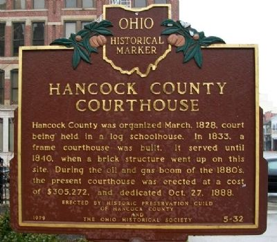 Hancock County Courthouse Marker (Side A) image. Click for full size.