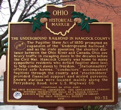 The Underground RR in Hancock County Marker (Side A) image. Click for full size.