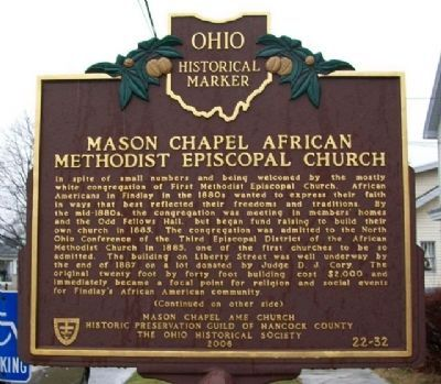 Mason Chapel AME Church Marker (Side A) image. Click for full size.