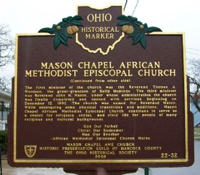 Mason Chapel AME Church Marker (Side B) image. Click for full size.