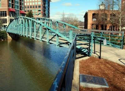"The ""Swamp Rabbit"" Railroad Marker and<br>Pedestrian Bridge image. Click for full size."