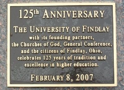 The University of Findlay 125th Anniversary Marker image. Click for full size.