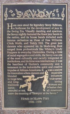 "Savoy Ballroom ""Plaque"" image. Click for full size."