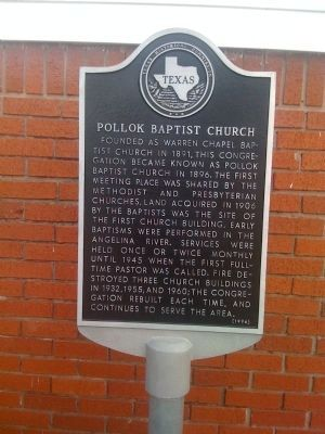Pollok Baptist Church Marker image. Click for full size.
