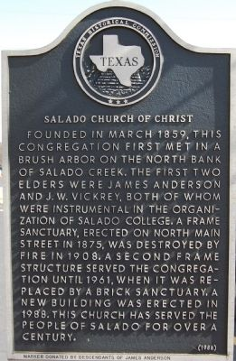 Salado Church of Christ Marker image. Click for full size.