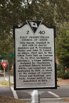 First Presbyterian Church of Aiken Marker image. Click for full size.
