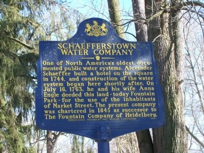Schaefferstown Water Company Marker image. Click for full size.