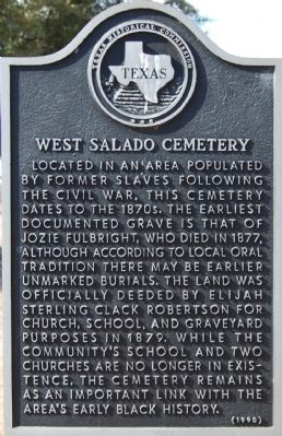 West Salado Cemetery Marker image. Click for full size.