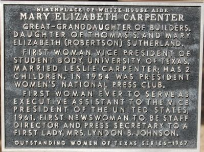 Birthplace of White House Aide Mary Elizabeth Carpenter Marker image. Click for full size.