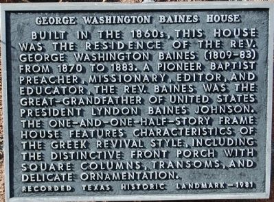 George Washington Baines House Marker image. Click for full size.