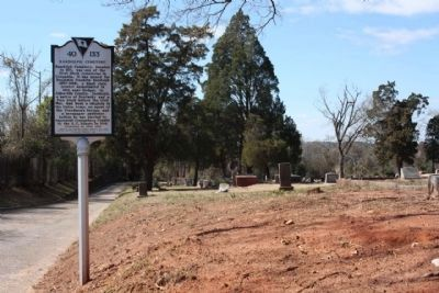 Randolph Cemetery Marker along Frontage Road, looking west image. Click for full size.