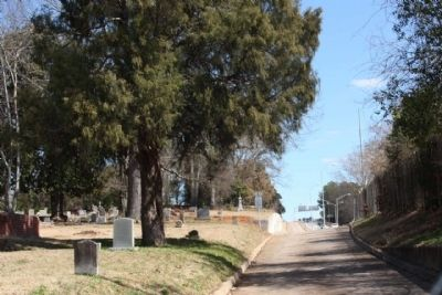 Randolph Cemetery Marker, looking east, Frontage Road, parallel to westbound Elmwood Avenue image. Click for full size.