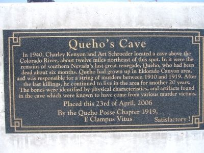 Queho's Cave Marker image. Click for full size.