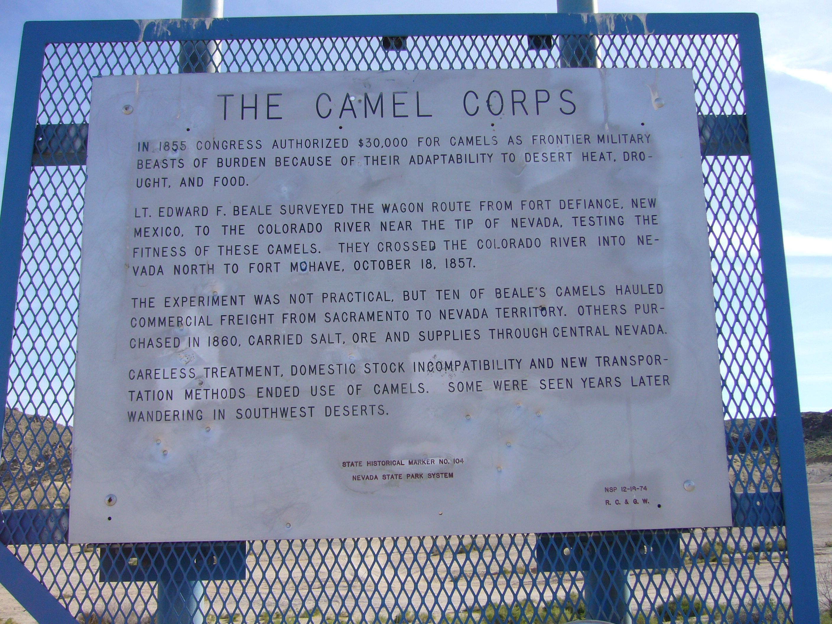 The Camel Corps Marker