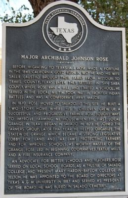 Major Archibald Johnson Rose Marker image. Click for full size.