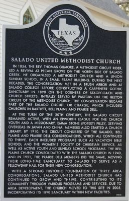 Salado United Methodist Church Marker image. Click for full size.