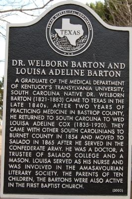 Dr. Welborn Barton and Louisa Adeline Barton Marker image. Click for full size.