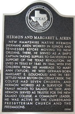 Hermon and Margaret L. Aiken Marker image. Click for full size.