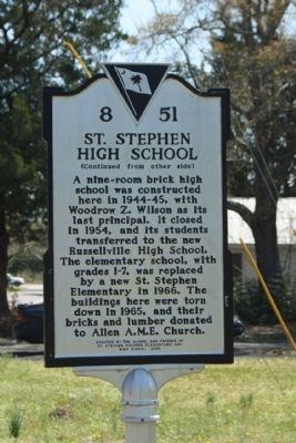 St. Stephen High School Marker image. Click for full size.