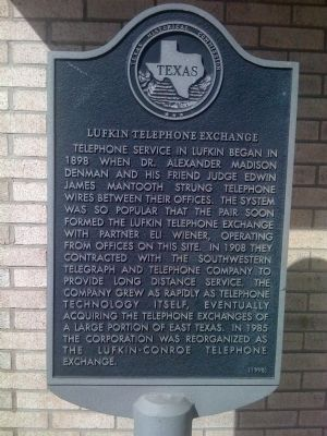 Lufkin Telephone Exchange Marker image. Click for full size.