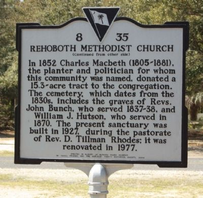 Rehoboth Methodist Church Marker, reverse side image. Click for full size.