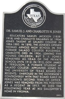 Dr. Samuel J. and Charlotte H. Jones Marker image. Click for full size.
