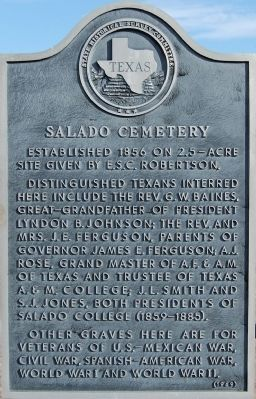 Salado Cemetery Marker image. Click for full size.