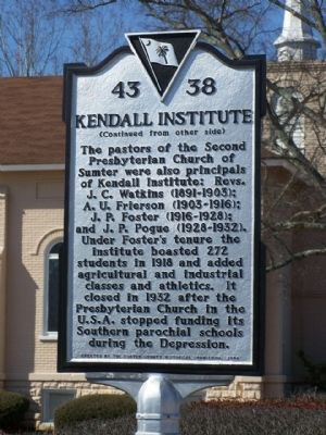 Kendall Institute Marker, reverse side image. Click for full size.