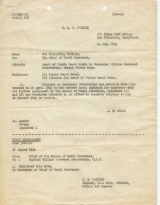 Cover letter and endorsement to RADM W. W. Outerbridge's Purple Heart Citation (1945) image. Click for full size.