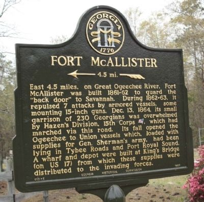 Fort McAllister Marker image. Click for full size.