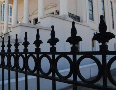 Iron Fence Surrounding Downtown Baptist Church image. Click for full size.