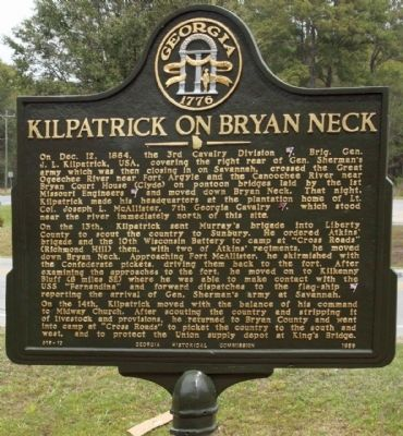 Kilpatrick on Bryan Neck Marker image. Click for full size.