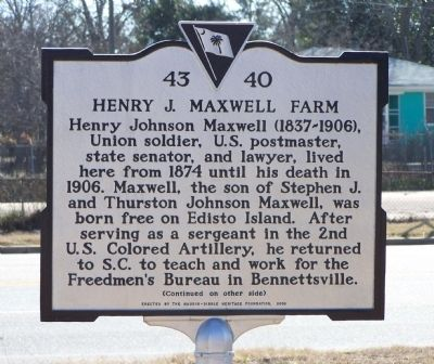 Henry J. Maxwell Farm Marker image. Click for full size.