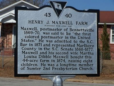 Henry J. Maxwell Farm Marker, reverse side image. Click for full size.