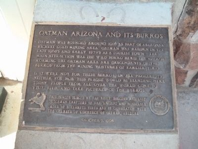 Oatman Arizona and its Burros Marker image. Click for full size.