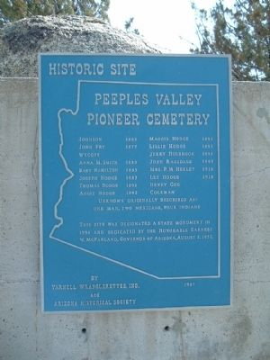 Peeples Valley Pioneer Cemetery Marker image. Click for full size.