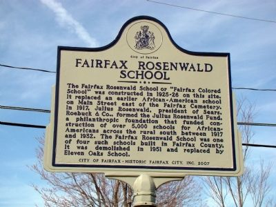 Fairfax Rosenwald School Marker image. Click for full size.