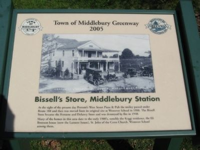 Bissel's Store, Middlebury Station Marker image. Click for full size.