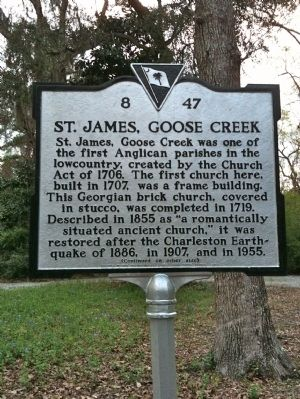 St. James, Goose Creek Marker (front) image. Click for full size.
