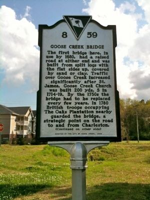Goose Creek Bridge Marker (front) image. Click for full size.