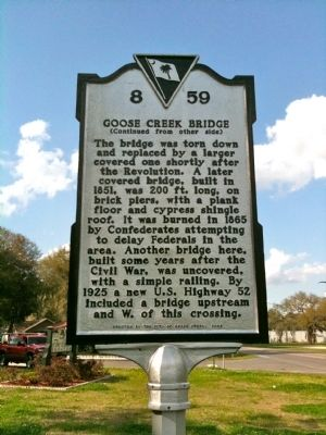 Goose Creek Bridge Marker (reverse) image. Click for full size.